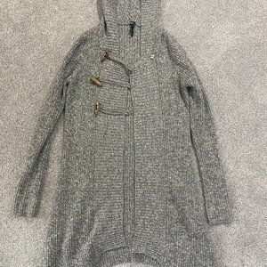 Takeout Juniors Gray Hooded Knit Sweater Size Larg